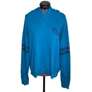 VS Pink Airforce Blue Pullover Logo Hoodie Sweater